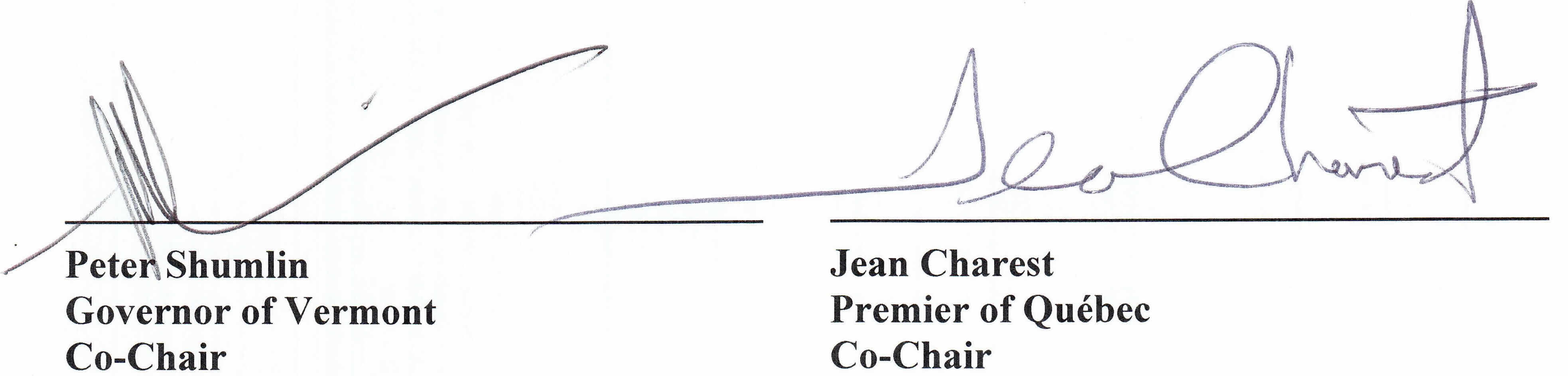 Governor Shumlin and Premier Charest signatures